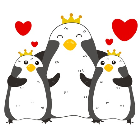 cute cartoon penguin family Vector