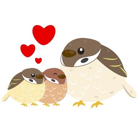 cute cartoon sparrow family Stock Vector - 18526673