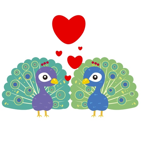 family with two children: one pair of cute cartoon peacocks Illustration