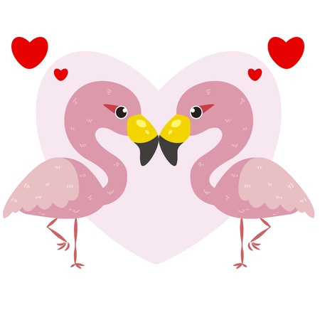 flamingos: one pair of cute flamingos,vector Illustration