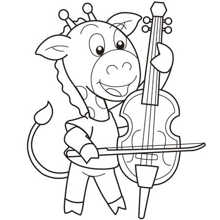 violoncello: Cartoon giraffe playing a cello black and white