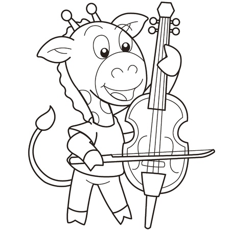 cellist: Cartoon giraffe playing a cello black and white