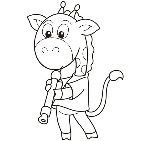 oboe: Cartoon giraffe playing an oboe black and white