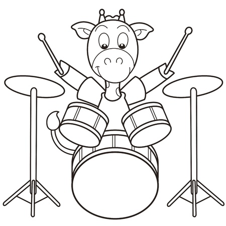 percussionist: Cartoon giraffe playing drums black and white
