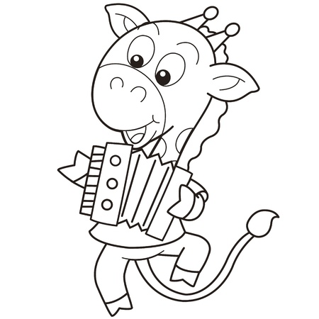 Cartoon Giraffe Playing an Accordion black and white Vector