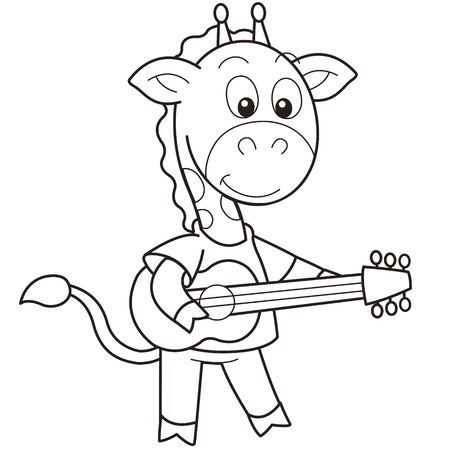 musical instrument symbol: Cartoon giraffe playing a guitar black and white Illustration