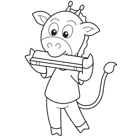 harmonica: Cartoon giraffe playing a harmonica black and white Illustration