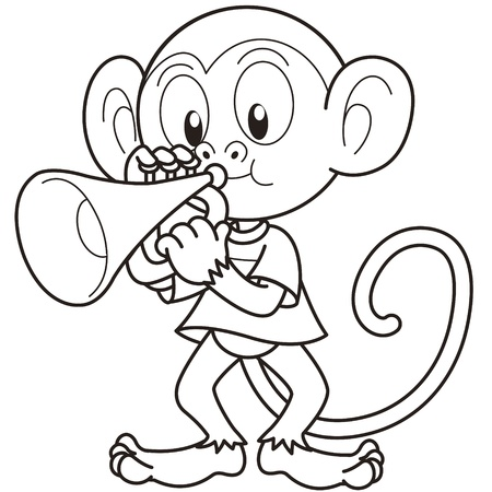 Cartoon monkey playing a trumpet black and white Vector