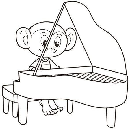 piano player: Cartoon monkey playing a piano black and white Illustration