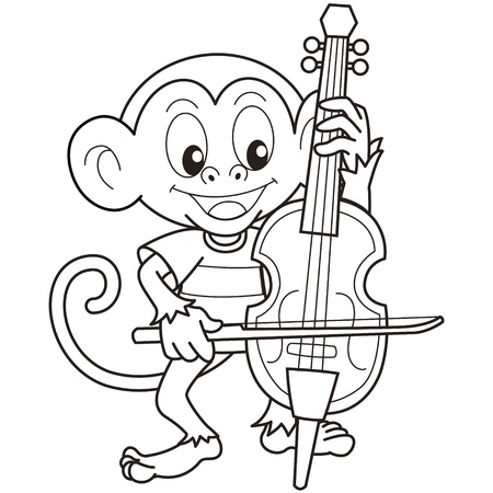 Cartoon Monkey Playing a Cello black and white Vector