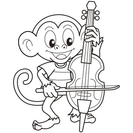 cellist: Cartoon Monkey Playing a Cello black and white Illustration