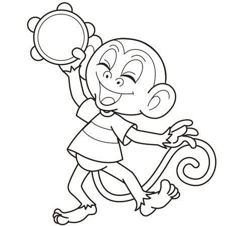 primate: Cartoon monkey playing a tambourine black and white