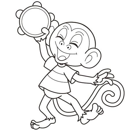 tambourine: Cartoon monkey playing a tambourine black and white