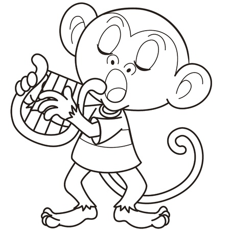 Cartoon monkey playing a harp black and white Vector