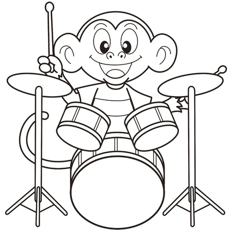 Cartoon Monkey Playing Drums black and white Illustration