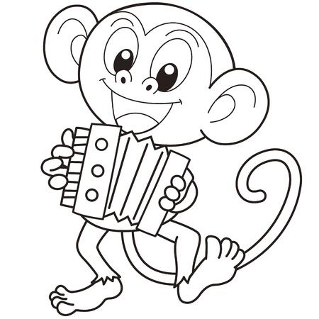 smirking: Cartoon monkey playing an accordion black and white