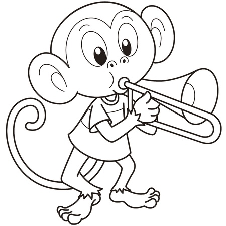 music monkeys cartoon monkey playing a trombone illustration
