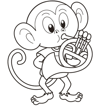 french horn: Cartoon monkey playing a French horn black and white