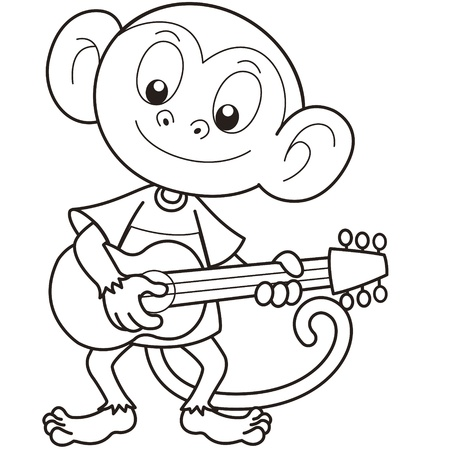 Cartoon monkey playing a guitar black and white Vector