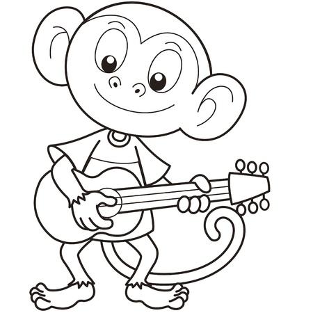smirking: Cartoon monkey playing a guitar black and white