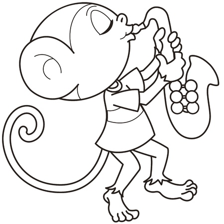 Cartoon monkey playing a saxophone black and white Vector