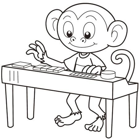smirking: Cartoon monkey playing an electronic organ black and white