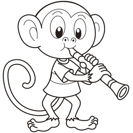 musical monkeys cartoon monkey playing a clarinet black and white