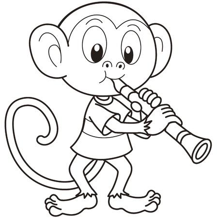 clarinet: Cartoon monkey playing a clarinet black and white