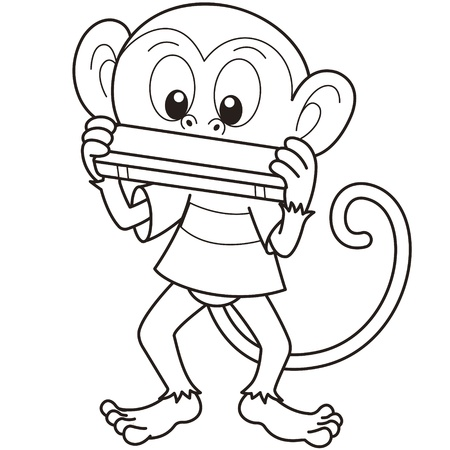 Cartoon monkey playing a harmonica black and white Vector