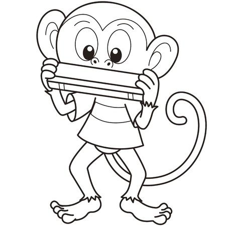 harmonica: Cartoon monkey playing a harmonica black and white