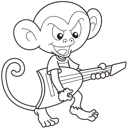 guitarists: Cartoon monkey playing an electric guitar black and white