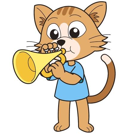 Cartoon cat playing a trumpet