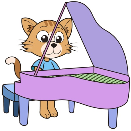 school baby: Cartoon cat playing a piano