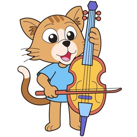 gato jugando: Gato de la historieta que juega un violonchelo