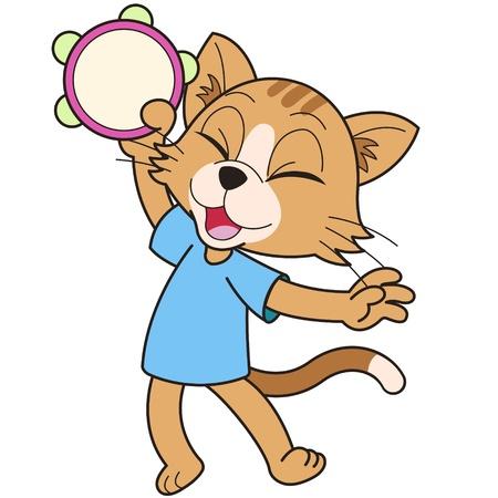 pandero: Gato de la historieta que juega la pandereta