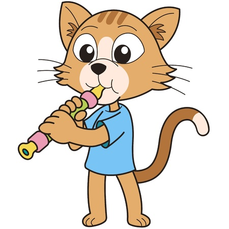 oboe: Cartoon cat playing an oboe