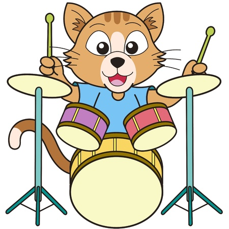 cats playing: Cartoon cat playing drums