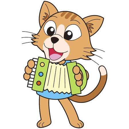 cartoon cat playing an Accordion Vector