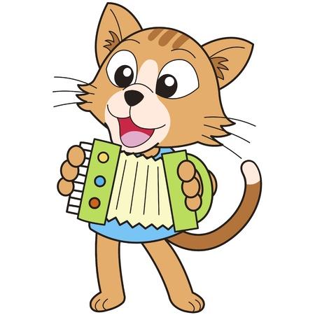 acordeón: dibujos animados del gato tocando el acordeón