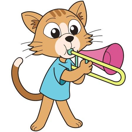 만화 고양이 트롬본 연주 일러스트