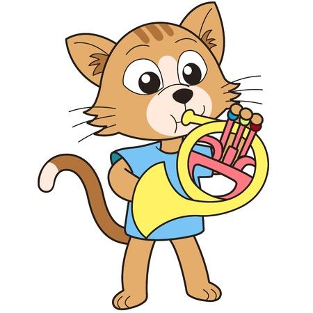 gato jugando: Gato de la historieta que juega un cuerno francés