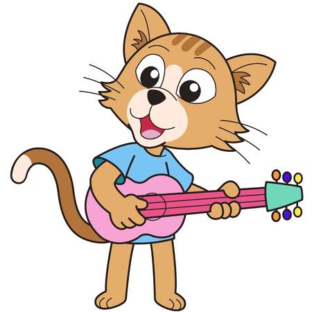 playing guitar: Cartoon cat playing a guitar  Illustration