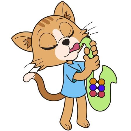 만화 고양이는 색소폰 연주