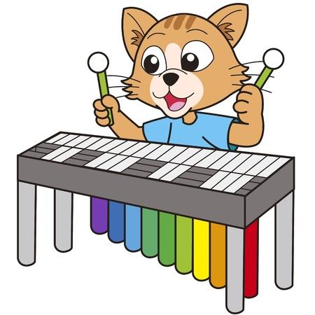 비브라폰을 연주하는 만화 고양이