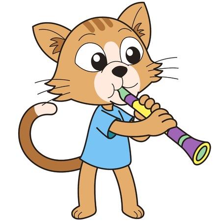 clarinet: Cartoon cat playing a clarinet