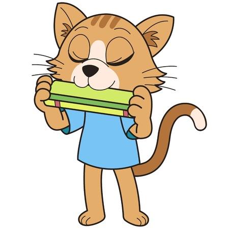 harmonica: Cartoon cat playing a harmonica