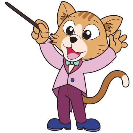 cats playing: Cartoon cat music conductor  Illustration
