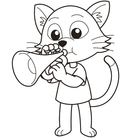 trumpeter: Cartoon cat playing a trumpet black and white