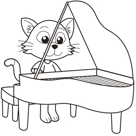 line drawings: Cartoon cat playing a piano black and white