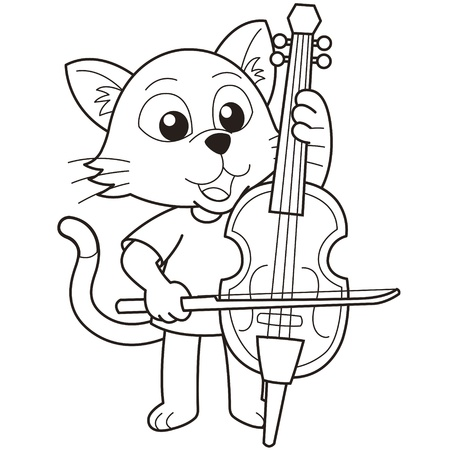 Cartoon cat playing a cello black and white Stock Vector - 18526760